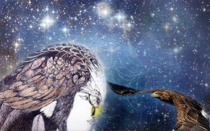 dancing bird goddess and golden eagle