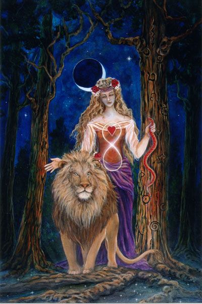 a goddess and her lion