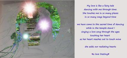 Two Heart apart but touch through the portal she adds our hearts of radiating love